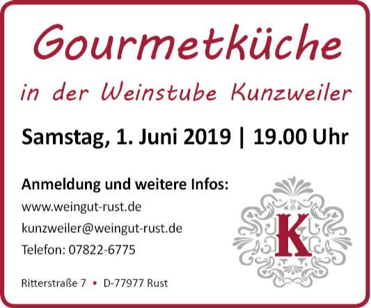 Gourmetküche in der Weinstube Kunzweiler - Samstag 1. Juni 2019