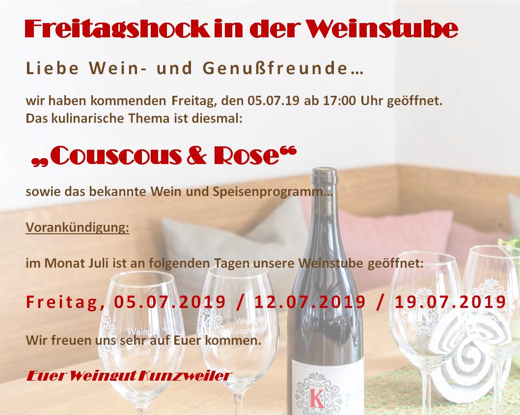 Feierabendhock in der Weinstube / Freitag 05.07.19 ab 17.00 Uhr