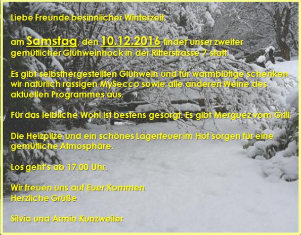 Glühweinhock am Samstag 10.12.2016